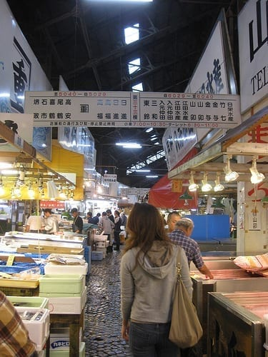 Exploring the Tsujiki Fish Market during my first 24 hours in Japan